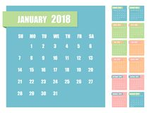 Calendar for 2018. Vector illustration. Calendar for 2018 months in the form of paper stickers. The week starts on Sunday. Vector flat illustration royalty free illustration