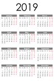 Calendar 2019. Vector illustration. Flat design. Isolated on White Background. Calendar 2019. Vector illustration new year vector illustration