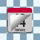 Calendar. Vector illustration of the calendar. Page changes for February 14. Valentine`s Day Stock Photos