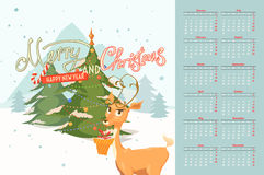 Calendar 2017. Vector illustration. Stylish calendar merry Christmas and happy New Year 2017. Vector illustration. Young deer with a gift on a wood background Stock Photography