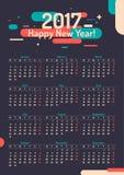 Calendar 2017. Vector illustration. Stylish minimalist calendar happy New Year 2017. Vector illustration Stock Photo