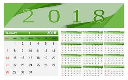 Calendar-2018. Vector illustration; Template Calendar, 2018. Can be used in print advertising and public relations Stock Image