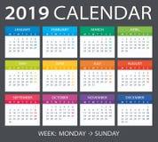 2019 Calendar - vector illustration. Vector template of color 2019 calendar - Monday to Sunday vector illustration