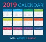 2019 Calendar - vector illustration. Vector template of color 2019 calendar - Monday to Sunday royalty free illustration