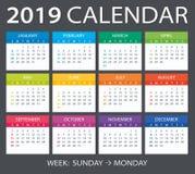 2019 Calendar - vector illustration. Vector template of color 2019 calendar - Sunday to Monday stock illustration