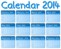 Calendar 2014. Vector illustration of a calendar 2014 Stock Photo