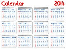 Calendar 2014. Vector illustration of a calendar 2014 week starts on Sunday vector illustration