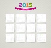 Calendar for 2015. Vector illustration of Calendar for 2015 year Stock Images