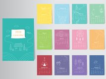 Calendar 2016 Vector nature design Template. Set of 12 Months Stock Photo