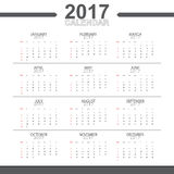 2017 calendar vector object. Rgb mode Stock Photography