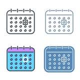 The calendar vector outline icon set. Time reminder line symbols Stock Image