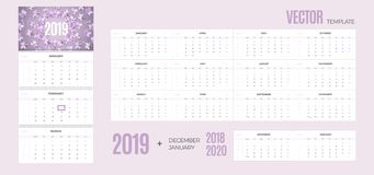 2019 Calendar. Vector quarterly template ready for print with soft floral background and 3 month pages for wall. Week starts Monday vector illustration