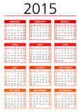 2015 calendar vector. 2015 red calendar vector illustration Royalty Free Stock Photography