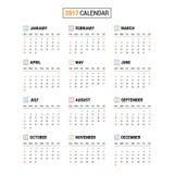 2017 calendar vector. Set of 2017 calendar vector royalty free illustration