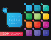 2014 calendar vector. Vector calendar 2014. simple colorful calendar design template stock illustration