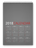 Calendar 2018 Vector. Simple calendar 2018 gray colored template. Week starts from sunday. Vector realistic spiral notepad notebook Stock Images