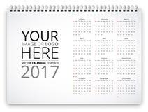 Calendar 2017 Vector. Simple horizontal calendar 2017 template. Week starts from sunday. Vector realistic spiral notepad notebook stock illustration
