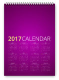 Calendar 2017 Vector. Simple calendar 2017 violet colored template. Week starts from sunday. Vector realistic spiral notepad notebook royalty free illustration