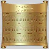 Calendar 2015 vector Sunday first american week 12 Stock Image