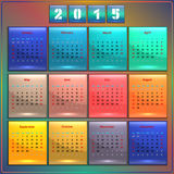 Calendar 2015 vector Sunday first american week 12. Months rainbow on dark Stock Photography