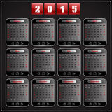 Calendar 2015 vector Sunday first american week 12. Months techno gadget digital style Stock Images