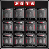 Calendar 2016 vector Sunday first 12 months. Calendar 2015 vector Sunday first american week 12 months, techno gadget digital style Royalty Free Stock Image