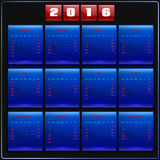 Calendar 2016 vector Sunday first 12 months, blue. Calendar 2016 vector four seasons, Sunday first american week, 12 months,  blue on black Stock Photo