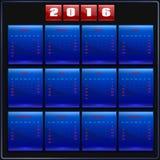 Calendar 2016 vector Sunday first 12 months, blue Stock Photo