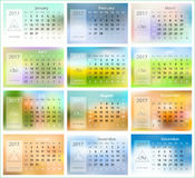 2017 Calendar vector template. 2017 Calendar. Blurred background design vector template Stock Photo