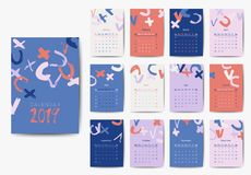 The 2019 calendar vector template in bright colors. Grunge style 2019 year calendar, colorful brush strokes design stock illustration