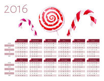 Calendar vector template 2016 with christmas candy canes Royalty Free Stock Image