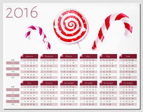Calendar vector template 2016 with christmas candy canes Stock Image