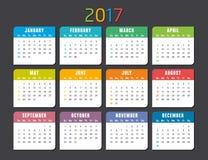Calendar 2017 vector template. Colorful 2017 calendar  on a dark background Royalty Free Stock Photo