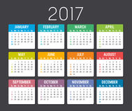Calendar 2017 vector template. Colorful 2017 calendar  on a dark background Royalty Free Stock Image