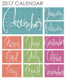 Calendar 2017 - Vector template. Creative artistic monthly calendar with hand lettering. Colorful bright trendy colors. For planners and organizers - 4 x 6 Vector Illustration