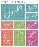 Calendar 2017 - Vector template. Creative artistic monthly calendar with hand lettering. Colorful bright trendy colors. For planners and organizers - 4 x 6 Royalty Free Stock Images