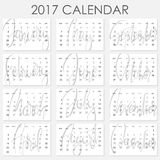Calendar 2017 - Vector template. Creative artistic monthly calendar with hand lettering. Simply design on white. For planners and organizers - 4 x 6 inches Stock Photos