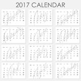 Calendar 2017 - Vector template. Creative artistic monthly calendar with hand lettering. Simply design on white. For planners and organizers - 4 x 6 inches Stock Image