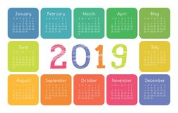 Calendar 2019. Vector template. English calender. Colorful set. Week starts on Sunday. Chalk, brush or pencil stock illustration
