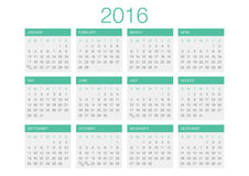 Calendar vector template 2016. In a grey and green gamma royalty free illustration