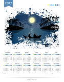 Calendar vector template 2017 with night moon fishing and sea ocean landscape in vector Stock Photography