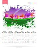 Calendar vector template 2016 with rainbow over white background Royalty Free Stock Images