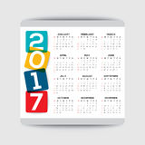 2017 calendar vector template. Simple 2017 calendar vector template, week starts from Sunday stock illustration