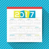 2017 calendar vector template. Simple 2017 calendar vector template, week starts from Sunday, square layout Royalty Free Stock Photography