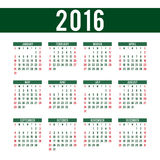 Calendar for 2016 - vector template. For web and print use Royalty Free Stock Photography