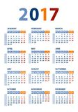 Calendar 2017 vector template Stock Photos