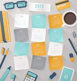 Calendar vector template 2015 with Stock Photos