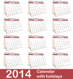 2014 Calendar. 2014 vector calendar with USA holidays royalty free illustration