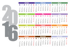 Calendar 2016. Vector calendar for 2016, week starts on Monday Stock Image