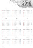 Calendar 2016. Vector works. White calendar 2016 Size A3 (420mmx297mm Stock Photography